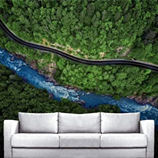 Wall Removable Mural Self Adhesive Peel and Stick Wallpaper Mountain river and road aerial view Posters Large Wallpaper fo...