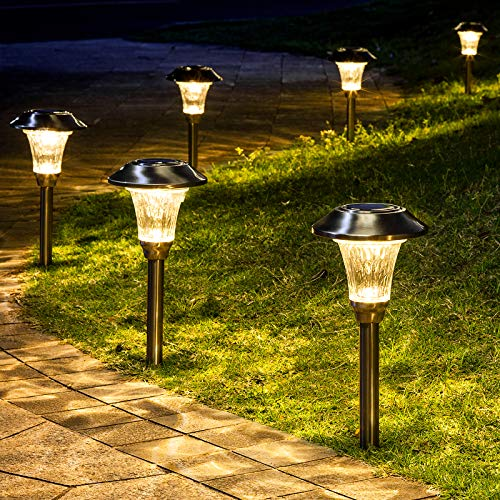 GIGALUMI 8 Pack Solar Pathway Lights, Solar Pathway Lights Outdoor Warm White, Waterproof Glass Stainless Steel Automatic Solar Landscape Lights for Patio, Yard, Lawn, Garden and Path (Silver Finish)