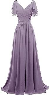 Yexinbridal Ruffle Sleeves V-Neck Chiffon Bridesmaid Dress Long Fomal Evening Gowns