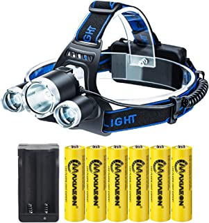 LED Headlamp Flashlight,Kit with 6PCS 3.7V High Capacity Rechargeable 18650 Battery + Batteries Charger For Camping,Hikin...