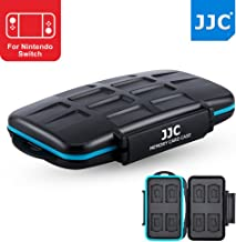 JJC 8+8 Slots Anti-shock Game Card Case Memory Card Protector for 8 X Game Card (Nintendo Switch: ARMS, Cave Story/Sony Playstation PS VITA: Metal Gear Solid) + 8 X Micro SD/MSD Memory Card, Black