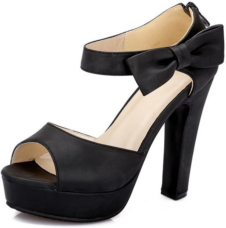 AllhqFashion Women's Solid PU High-Heels Peep Toe Zipper Heeled-Sandals