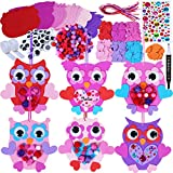 Winlyn 24 Sets Valentine's Day Owl Ornaments Decoration DIY Foam Owl Ornaments Craft Kit Assorted Owl Shaped Foam Cutouts with Heart Flower Googly Eyes Pom-poms for Kids Classroom Activities