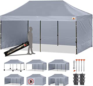 ABCCANOPY 23+ Colors Deluxe 10x20 Pop up Canopy Tent Commercial Gazebo with Enclosure Walls and Wheeled Carry Bag Bonus 6 Weight Bags,2 Half Walls and 1 Screen Wall (Gray)