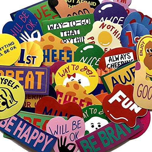 VCZX Pegatinas de Texto de Humor de Dibujos Animados en inglés para Maleta, monopatín, portátil, Equipaje, Nevera, teléfono, Estilo, Pegatina DIY, 38 Uds.