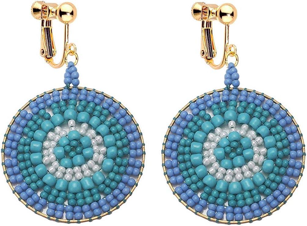 Boho Clip on Earrings Handmade Colorful Seed Beaded Lollipop Circle for Women Girls Dangle Drop Non Pierced Vintage Style