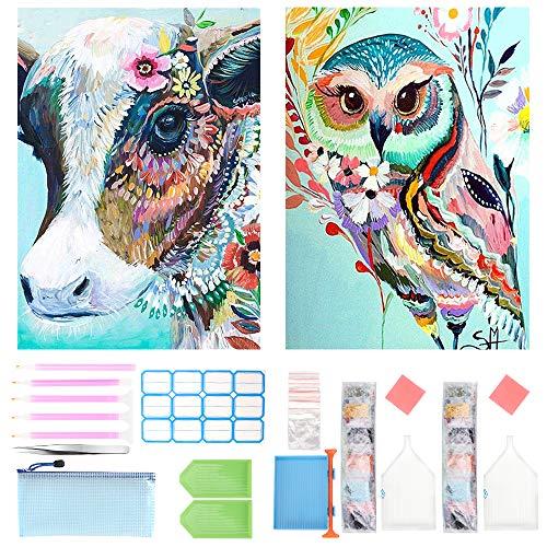DIY 5D Diamond Painting Kit Completo,Búho y vaca Animal Pintura de Diamantes 5d pintura diamante kit, Diamont Paintings Bordado de Punto de Cruz, Manualidades para Decoración de Pared (Búho y vaca)