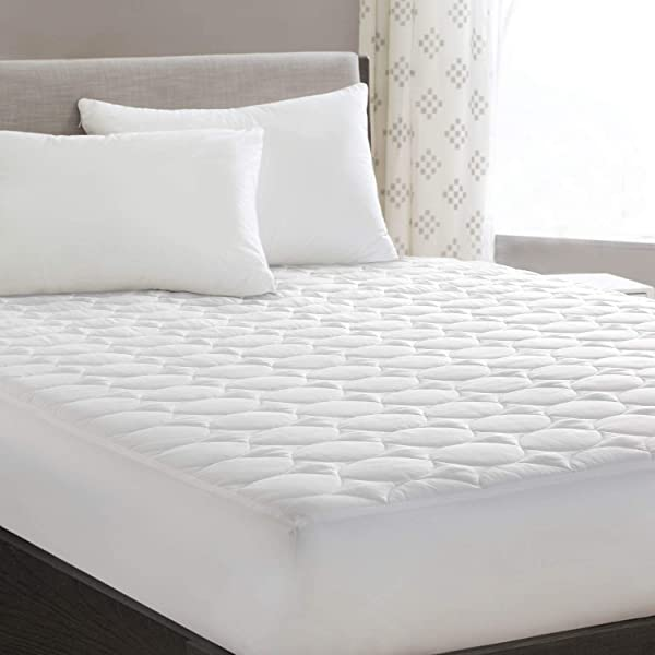 HYLEORY King Mattress Pad Cover Quilted Fitted With Stretches To 18 Deep Pocket White Cooling Hypoallergenic Mattress Topper Protector 78 X 80