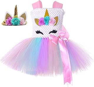 Unicorn Princess Costumes for Girls 1-12Y with Headband Birthday Halloween Party