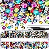 TecUnite 2000 Piezas de Gemas Planas Diamantes de Imitación de Cristal Redondos 6 Tamaños (1,5 - 6 mm) con Pinza de Selección y Lápiz de Selección de Diamantes (Multicolors)