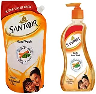 Santoor Sandalwood Handwash 750ml+215ml Hand Wash Pump + Refill (2 x 482.5 ml)