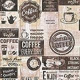 Papier peint cuisine coffee 33480-3 | Papier peint cuisine vintage | Papier marron & beige original | Papier peint année 50 pas cher en ligne !