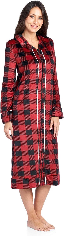 Ashford /& Brooks Womens Long Zip Up Mink Fleece Lounger Robe