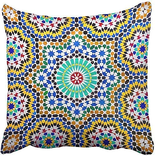 Fundas de almohada cuadradas con diseño de mosaico marroquí en azulejos orientales de Marruecos, se encuentran y son importantes fundas de almohada para niños, hombres, mujeres, adultos, personalizadas, regalo para papá o niño