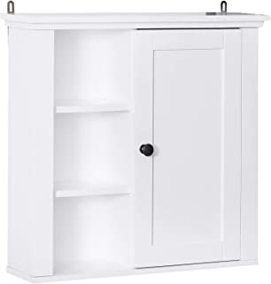 "HOMCOM 21"" Wood Wall Mount Bathroom Linen Storage Cabinet - White"