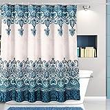 PREUP - Cortina de ducha de tela antimoho y antibacteriana y lavable a máquina, apta para la cocina y el cuarto de baño (180 x 180 cm)