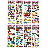 Etiquetas engomadas del Coche del tráfico para niños Niños 3D Puffy Bubble Scrapbook Cartoon Stickers Laptop Notebook DIY Toys 8 Hojas/Set