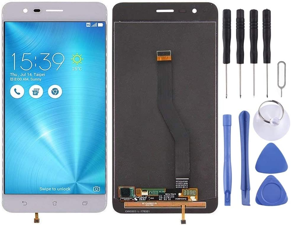 Black MAYOFO LCD Screen and Digitizer Full Assembly for Asus ZenFone 3 Zoom ZE553KL Z01HDA Color : White