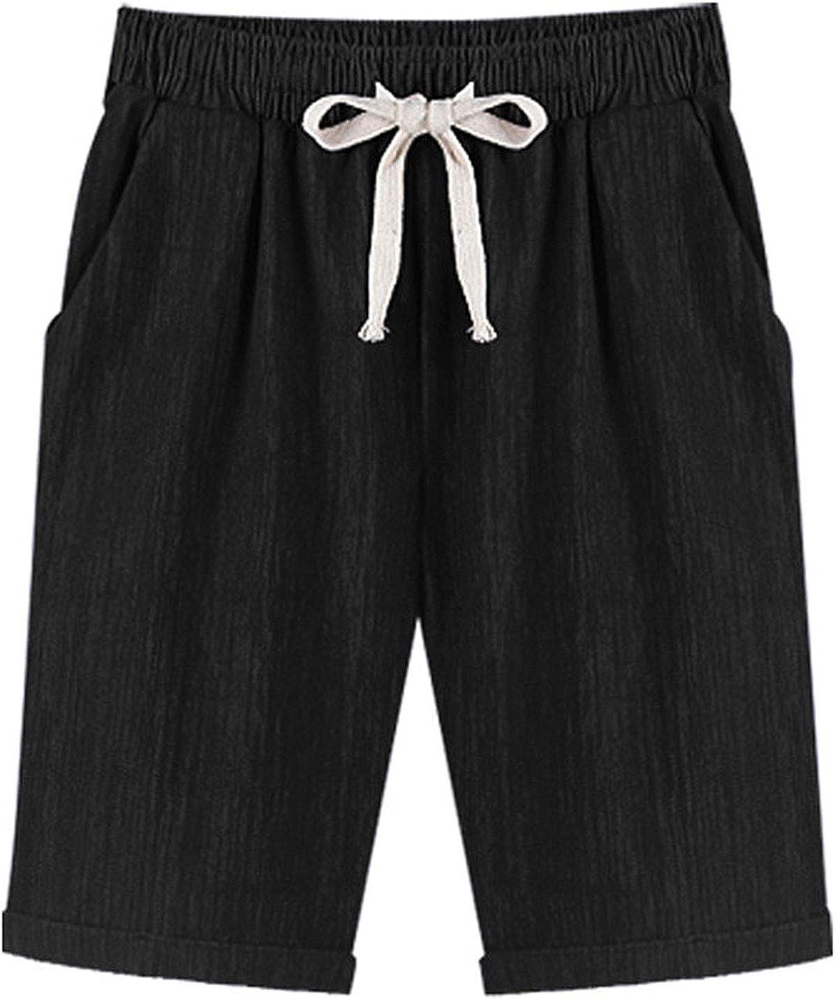 PUWEI Womens Drawstring Elastic Waist Strech Denim Loose A Line BF Rolled Shorts