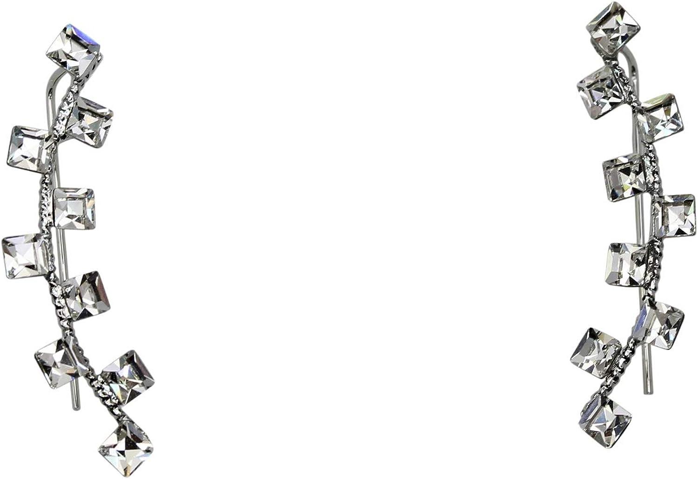 Faship Gorgeous Clear Rhinestone Crystal Ear Cuffs Earrings