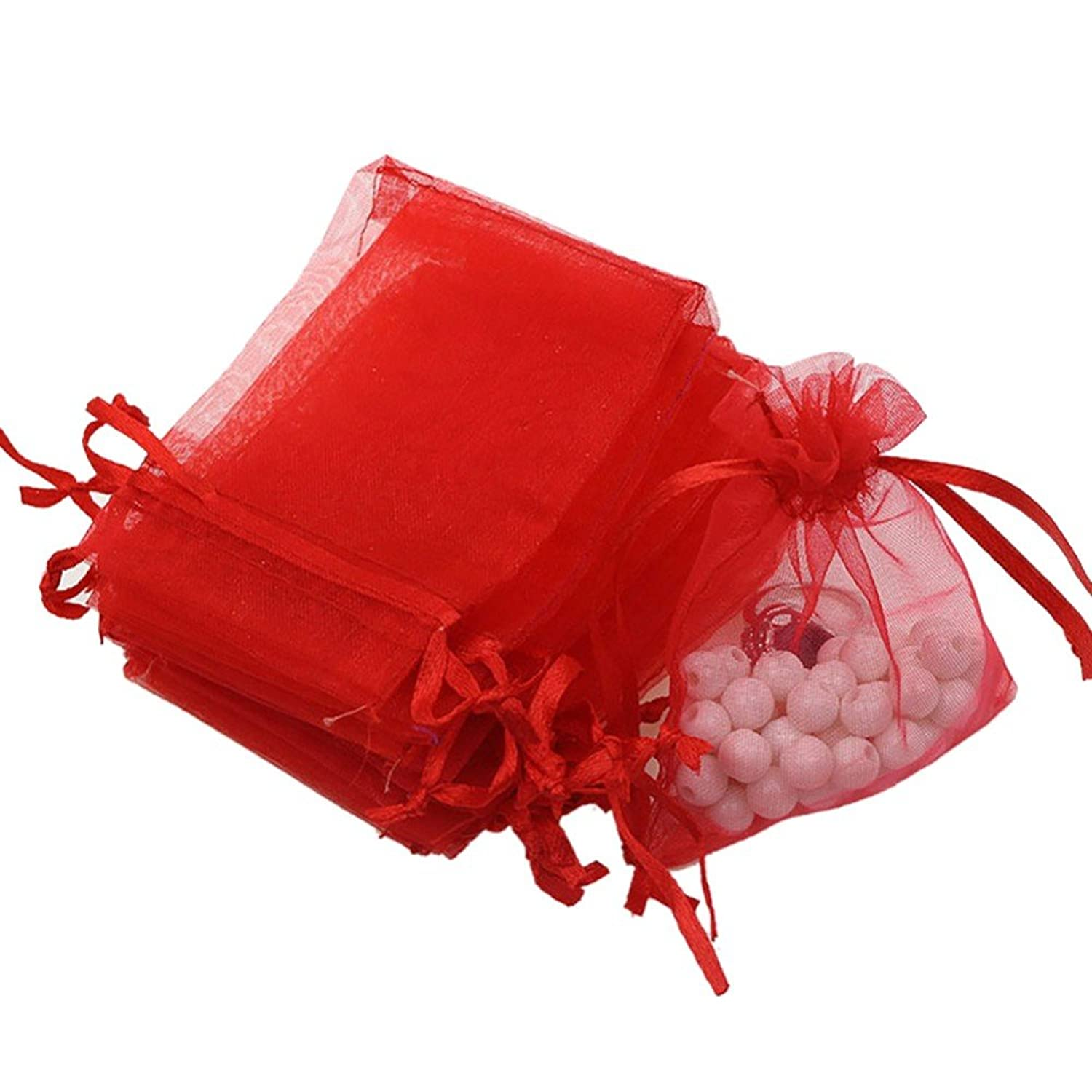 Dealglad 50pcs Drawstring Organza Jewelry Candy Pouch Christmas Wedding Party Favor Gift Bags (5x7