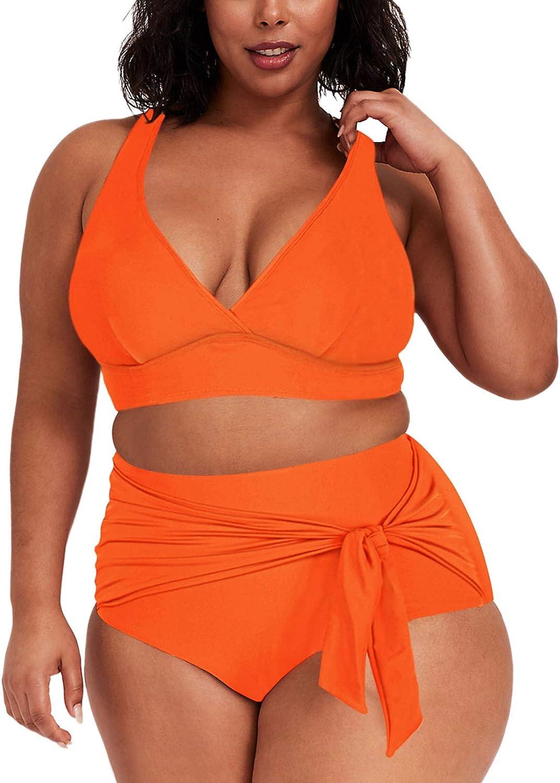 Kisscynest Women's Plus Size High Waist Swimsuit 2 Pieces Strappy Bikini Knotted Bottom Bathing Suits