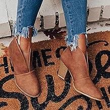 SSFG Bottes pour Femmes 2021 Bottines à découpes d'hiver en V Bottines à Talons empilés Mode PU Boot