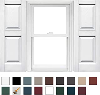 Mid-America Williamsburg Raised Panel Vinyl Standard Shutter - 1 Pair - 14.75 x 80 001 White