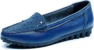 [WOOYOO] フラットシューズ レディース キラキラ パンプス 可愛い ペタンコ 美脚 エナメル 大きいサイズ ドライビングシューズ デート 通勤 走れる 歩きやすい コンフォート 婦人靴 防滑 黒/ブルー