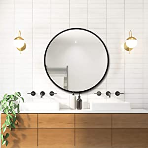 Round Wall Mirror for Bathroom,20 Inch Black Circle Mirror Modern Premium Aluminium Metal Frame Wall Mounted for Make up, Entryway, Vanity, Living Room, Bedroom,Wall Decor Brushed Black