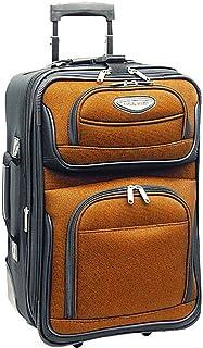 Traveler's Choice Amsterdam Softside 2-Tone Fabric Expandable Rolling Upright, Travel Suitcase Luggage with Wheels