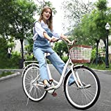 Women Bikes Beach Cruiser Bike, 26 Inch Classic Retro Bicycle Road Bikes, Single Speed Bicycle Commuter Bicycle High-Carbon Steel Frame, Front Basket, Rear Racks