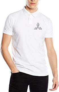 Kaivis New Custom Mitsubishi Automobile Logo Fashion Funny Printed Pyrograph Polo T-Shirt Short Sleeve for Mens Black