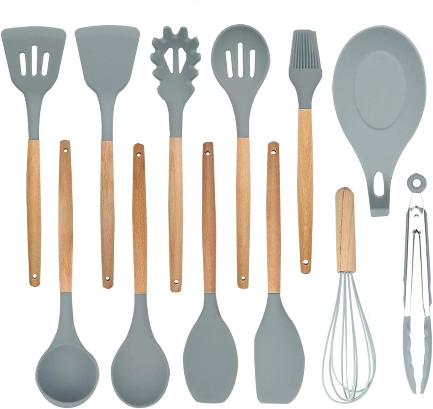 Kitchenware Set with Wooden Handle Non-Stick Sp Silicone Attention Fees free!! brand Spatula
