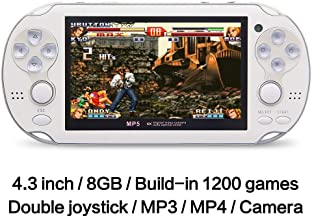 4.3 Inch 8GB Handheld Game Console 32Bit Video Game Console Built-in 1200+ non-repetitive games Support NES/SNES/GB/GBC/GBA/SMC/SMD/SEGA Games MP3 MP5 Player Support Ebook Camera Recording (white)