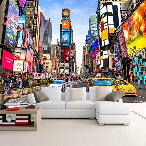 ZDBWJJ Behang aangepaste moderne stad New York Street View Fotobehang 3D Wallpaper voor woonkamer TV sofa achtergrond Wanddecoratie 350 cm x 245 cm.