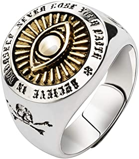 Hollow 925 Sterling Silver Freemason Masonic Eye of God All Seeing Eye & Skull & Crossbones Ring for Men Women Adjustable Size 7-11