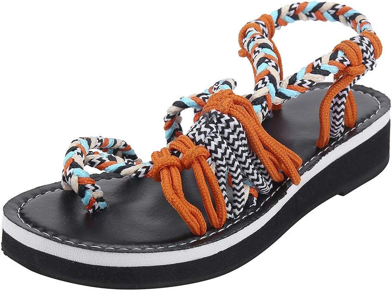 Xinantime Flat Sandals for Women Handmade Braided Summer Sandals Summer Flip Flops Sandals