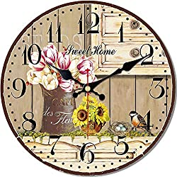MEISTAR Wooden Large Numerals French Country Style Home Wall Clocks,Big 16 Inch Flowers and Bird Design Easy to Read Living Room Decorative Wall Clock