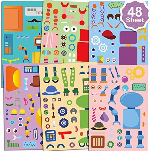 Qpout 48 Blatt Machen Einen Roboter Aufkleber für Kinder, Machen Sie Ihre eigenen Roboter Aufkleber, für Jungen Mädchen Roboter Geburtstag Party Geschenk Mitgebsel Schule Belohnung