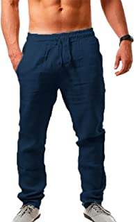 Men Linen Trousers Loose Fit Casual Lightweight Drawstring Yoga Beach Pant