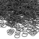 JIANYI 1200 Pack Mini Rubber Bands, Soft Elastic Bands Non-Slip Small Tiny Hair Ties for Toddlers, Kids, Audits, Ponytails, Braids, Wedding Hairstyle - Black