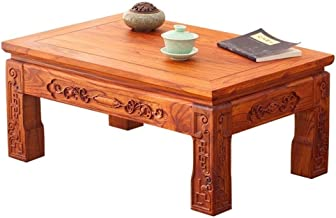 Coffee Tables Square Computer Desk Tatami Japanese Tea Table Classical Garden Table Window Sill Table Super Load-Bearing Up to 300kg (Color : Red-Brown, Size : 707030cm)