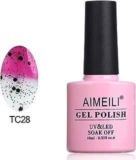 AIMEILI Soak Off UV LED Temperature Color Changing Chameleon Gel Nail Polish - Magenta to Transparent with Black Glitter (TC28) 10ml