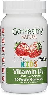 Go Healthy Natural Vitamin D3 Gummies for Kids, Vegetarian, OU Kosher, Halal-1000 IU Per Serving (60 Servings)