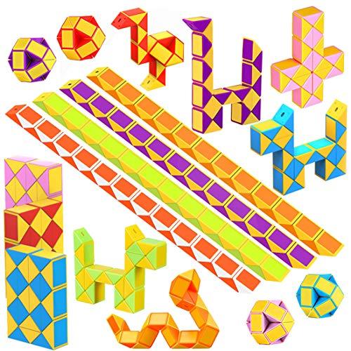 WEARXI Mitgebsel Kindergeburtstag - 24er 24 Blöcke Magische Schlange 3D Puzzle Spielzeug Knobelspiele Kinder, Give Aways Kindergeburtstag Gastgeschenke Jungen Magische Kinder Party Zufällige Farben