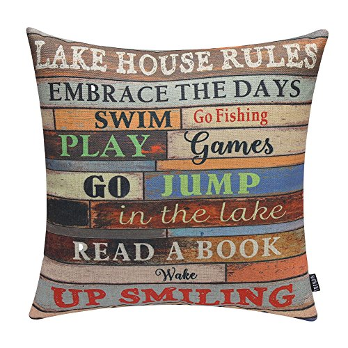 "TRENDIN 18"" X 18"" Vintage Wooden Style Colorful Lake House Rules Linen Cotton Cushion Cover Pillow Case Home Decoration (PL048TR)"