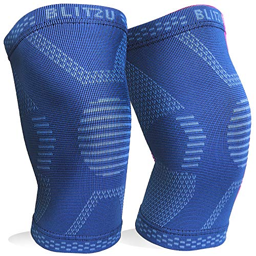 BLITZU Knee Compression Sleeve for Men & Women – Best Knee Brace Support for Running, Gym, Workout, Fitness, Weightlifting. Joint Pain Relief, Arthritis, ACL, Meniscus Tear and Injury Recovery (Medium, Blue)