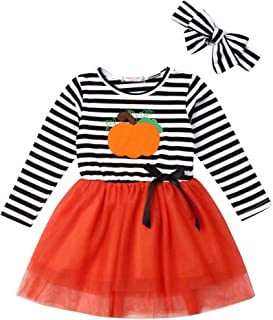 Yoawdats Toddler Baby Girl Halloween Pumpkin Print Striped Tulle Dress with Headband Outfits