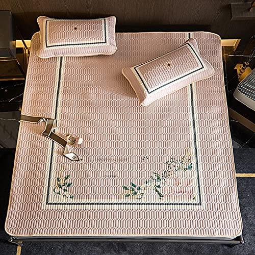 Summer Bed Sheetmat Cooling Breathable Latex Mattress Soft Non-Slip Sleeping Bed Sheet for House,Caravans,Picnic,Pink,180 * 200cm
